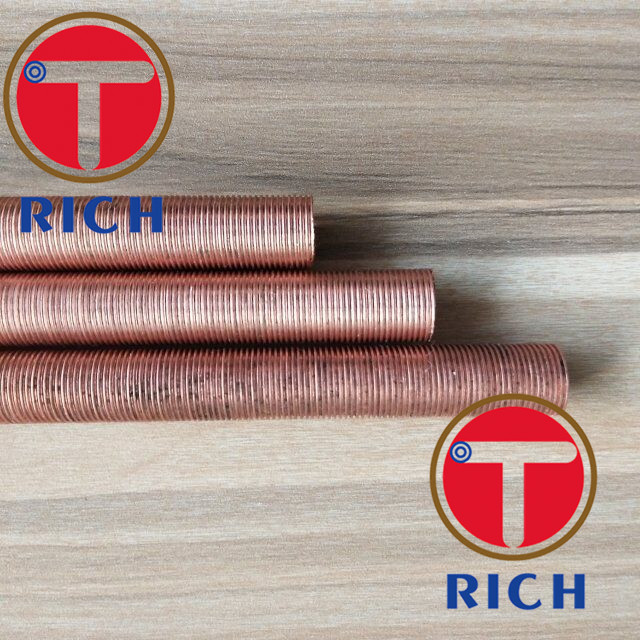 UNS12200 Spiral Brass Finned Tube Heat Exchanger / Red Finned Copper Tubing